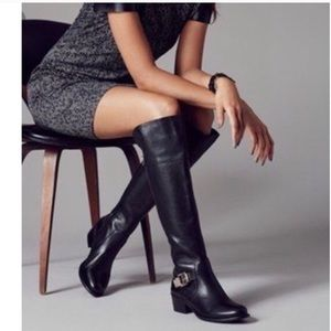 Vince Camuto Bocca over knee black leather boots